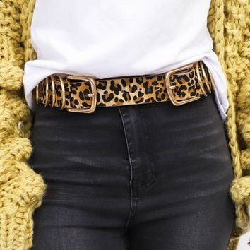 Private Jet Leopard Gold Ring Double Buckle Belt