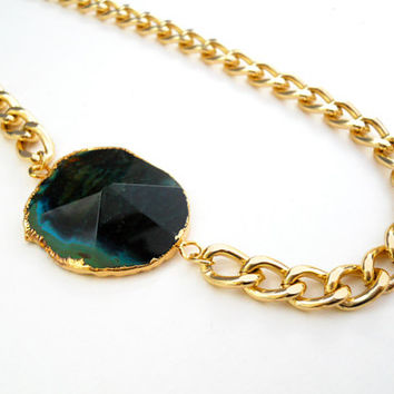 Chunky Gold Agate Necklace