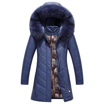 Winter Jacket Women Slim Female Pu Leather Cotton Jackets Warm Leather Coat For Hooded Fur Collar Faux plus size 8XL Parka Coat