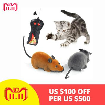 New Hot Sale Funny Pet Cat Mice Toy Wireless RC Gray Rat Mice Toy Remote Control Mouse for Pet Cat Dog Playing Toys Dropshipping