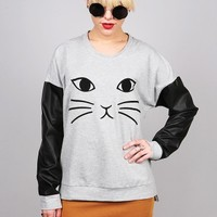 Kitty Whiskers Sweatshirt | Cute Sweaters at Pink Ice