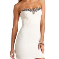 Strapless Beaded Bodycon Dress by Charlotte Russe - Ivory