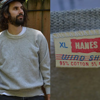 Vintage 1960's Hans Heather Grey Simple Cotton Sweatshirt