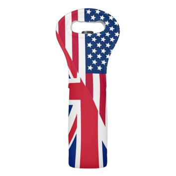 American and Union Jack Flag Wine Bag