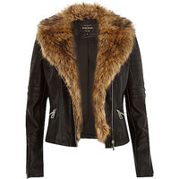 River Island Womens Black leather-look faux fur biker jacket