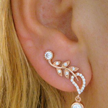 Sterling Silver Rosa Ear Sweep PIN Wrap Cuff Earring with CZ Stone - Free S&H Express