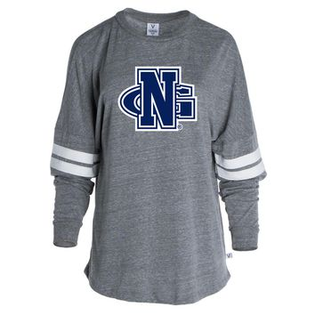 Official NCAA University of N. Georgia Nighthawks  - CP9FK03 Women's Tri-Blend Oversized Football Tee with Stripes