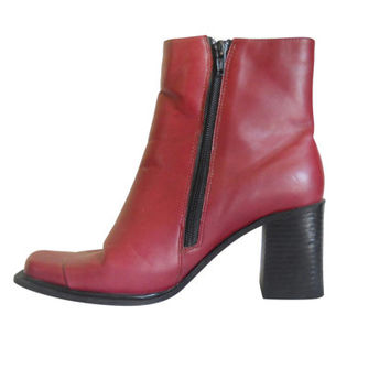 90s Boot Red Boot Chunky Heel Boot Block Heel Boot Chunky Women Boot Square Toe Boot 90s Rave Boot Vegan Boot Ankle Boot Vintage
