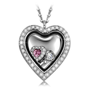 """""""Locket of Love"""" CZ Heart Locket Pendant Necklace Engraved With """"Love"""""""