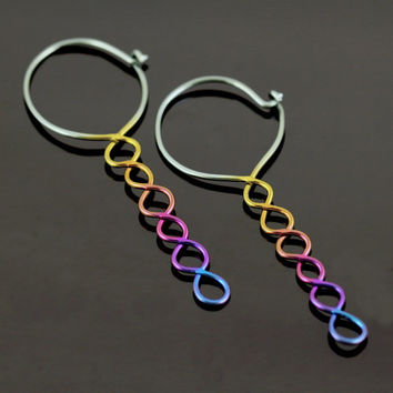 Niobium earrings, anodized rainbow hoops in 18 gauge with spiralling drop - Helical