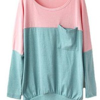 Pink Green Long Sleeve Round Neck T-shirt with Front Pocket