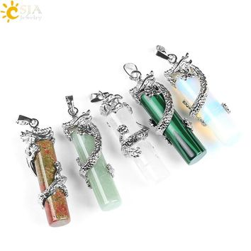 CSJA Reiki Dragon Wrap Drop Natural Stone Pendant Female Male Jewelry Opal Pink Quartz Gem Pendulum Amulet Jewellery E181