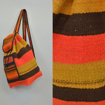 OVERSIZED ETHNIC colorful striped handwoven wool festival vtg 90s BACKPACK rucksack