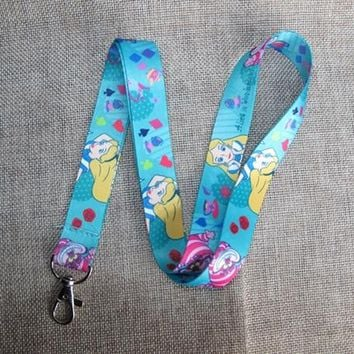 new Cartoon 1PCS   Alice In Wonderland Princess Neck Strap Lanyard Mobile Phone Charms Key Chain ID Badge Key Chains LS31