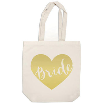 bride gift canvas tote bag - metallic gold heart bride bag - wedding calligraphy bride tote bag purse