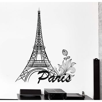 Wall Vinyl Paris Romantic Eiffel Tower France Bedroom Decor Unique Gift z3828
