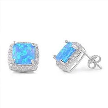 .925 Created Blue Opal Square Stud Earrings