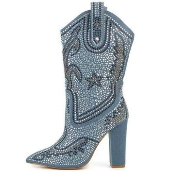 High Chunky Heel Rhinestone Pointed Toe Calf Boots