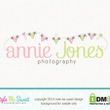 Premade Photography Logo Design Bunting Logo Hand Drawn Logo Party Boutique Logo Design