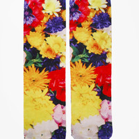 Floral Photo Print Crew Socks