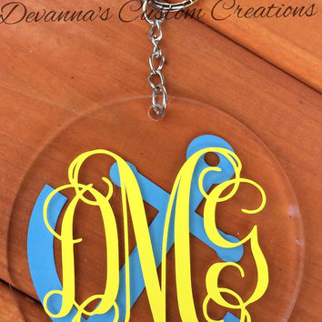 Anchor Monogram Circle Key Chan