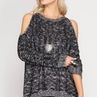 Cold Shoulder Chiffon Contrast Sweater - Black