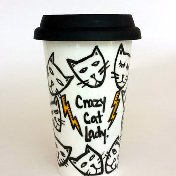 Ceramic Travel Mug Crazy Cat Lady Kitten Heads Lightning Bolts Black White Yellow Pets Hand Painted Porcelain Tumbler with Lid
