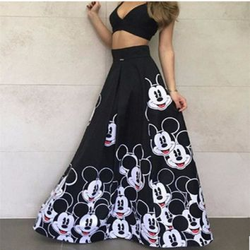 Fashion Mickey Maxi Long Skirt Women 2019 Striped Long Elastic High Waist Kawaii Female Elegant Pleated Printed cartoon Skirts