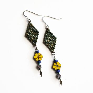 Long Summer Flower Statement Earrings In Patina Green, Yellow, And Blue