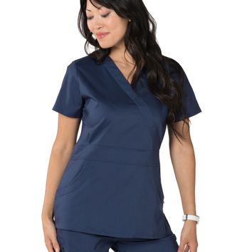 Nurse Mates Women's Lauren Mock Wrap Solid Scrub Top + Pant Set