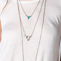SILVER TRIPLE LAYERED LONG TURQUOISE STONE NECKLACE - Default Title