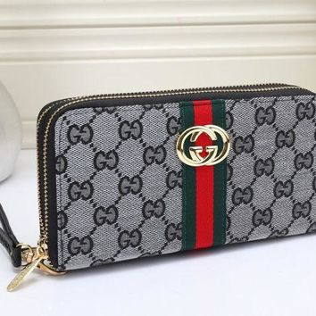 DCCKJ1A Gucci Stylish Women Men Personality Leather Zipper Purse Wallet Grey I