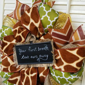 Welcome Baby Wreath Jungle Nursery Giraffe Nursery Green Brown  Nursery Wreath Baby  Hospital Door Jungle Baby Shower Baby Decor Giraffe