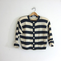 Vintage striped sweater. Blue & white striped nautical cardigan sweater. Preppy nautical sweater.