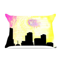 "Infinite Spray Art ""Skylined"" Pink Yellow Pillow Case"