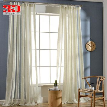 Modern Striped Window Tulle Curtains For Living Room Golden Embroidered Pink Luxury Blinds Sheer For Bedroom Panel Custom Size