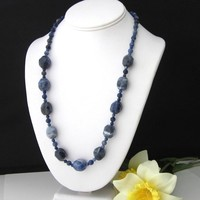 Large Nugget Gemstone Necklace Dark Blue All Sodalite 22 inch gift box
