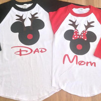 Free/Fast Shipping for US Christmas  Mickey and Minnie Reindeer Couples 3/4 long sleeve baseball T.