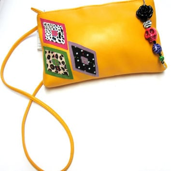Day Of The Dead Sugar Skull Purse Bright Yellow Clutch Disco Glam Black Rose Applique  Upcycled Vintage Shoulder Bag