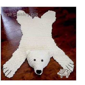 Polar Bear Rug with Flat or Stuffed Head - PDF CROCHET PATTERN