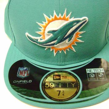 MIAMI DOLPHINS CAP / HAT 59 FIFTY MEN FITTED SIZE 7 3/4 NEW $35 NEW ERA NFL
