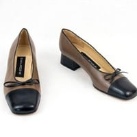 Leather Shoes Low Heels Brown Black Size 6 M Slip On Spain EU 36.5 Evan Picone