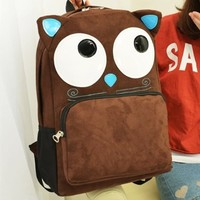 CrazyPomelo Cute Cat Suede Backpack/Laptop Bag (Light Brown)