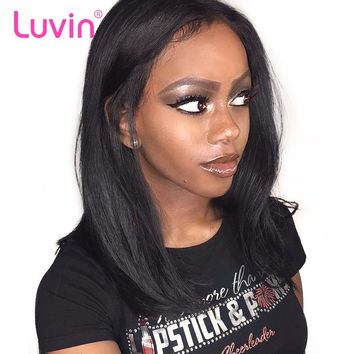 Luvin Glueless Lace Front Human Hair Wigs Straight Natural Color Peruvian Remy Hair Wigs For Black Women Shipping Free