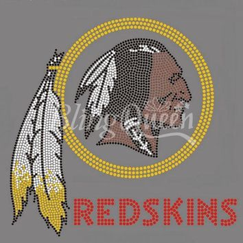 25PCS/LOT Iron On Hot Fix Rhinestone Heat Transfers Appliques Redskins Design
