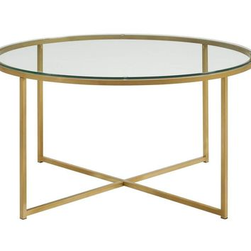"36"" Coffee Table with X-Base - Glass and Gold"