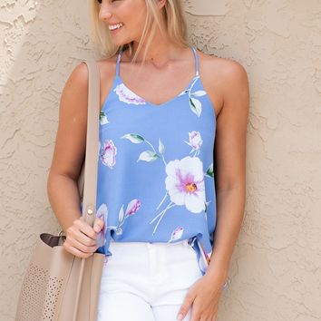 Sweeter In Person Sleeveless Floral Top : Aqua