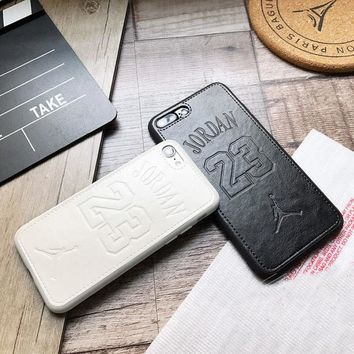 Luxury fly man Jordan 23 Soft leather cover case for iphone 6 7 8 X FREE SHIP