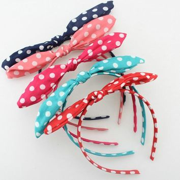 Lovely Dot Rabbit Bunny Ear Ribbon Metal Wire Headband Scarf Hair Head Band Bow adult hair accessories