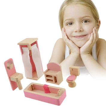 Brand Baby Wooden Doll Bathroom Furniture-Bathroom Dolls house Miniature For Kids Child Play Toy